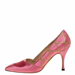 Manolo Blahnik Pink Satin Pointed Toe Pumps Size 38 313311