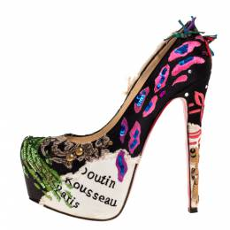 Christian Louboutin Limited Edition Daffodile Brodee Crepe Satin Pumps Size 39.5 313825