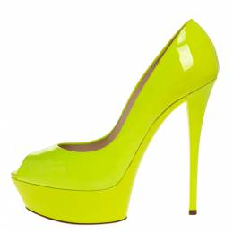 Casadei Lime Green Patent Leather Daisy Peep Toe Platform Pumps Size 39 313793
