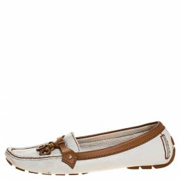 Louis Vuitton Brown/White Leather Embellished Logo Slip On Loafers Size 38.5 313791