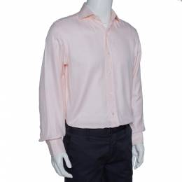 Tom Ford Pale Pink Cotton Herringbone Pattern Button Front Shirt M 314218