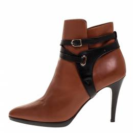 Hermes Brown/Black Leather Cross Strap Pointed Toe Ankle Boots Size 40 313806