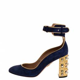 Aquazzura Navy Blue Suede Lucky Star Ankle Strap Pumps Size 38.5 315324