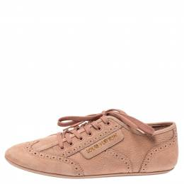 Louis Vuitton Light Peach Nubuck Leather Lace Up Brogue Sneakers Size 39.5 313295