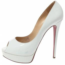 Christian Louboutin White Patent Leather New Prive Platform Peep Toe Pumps Size 40.5 314273