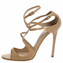 Jimmy Choo Beige Patent Leather Lance Ankle Strap Sandals Size 39 314496