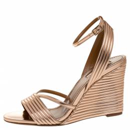 Aquazzura Rose Gold Patent Leather Sundance Wedge Sandals Size 36 315286