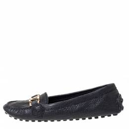 Louis Vuitton Black Textured Leather Oxford Loafers Size 40 310544