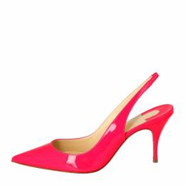 Christian Louboutin Pink Patent Leather Clare Pointed Toe Slingback Sandals Size 36 309203