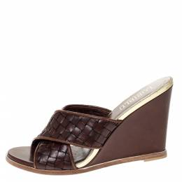 Loriblu Brown/Gold Woven Criss Cross Leather Wedge Sandals Size 38 310853