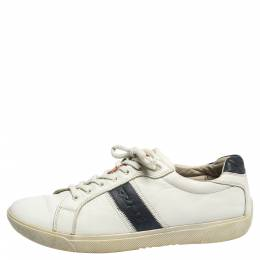 Prada White Leather Low Top Sneakers Size 42.5 310527