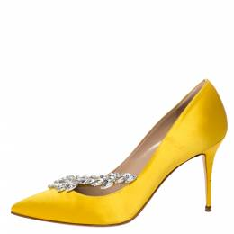 Manolo Blahnik Yellow Satin Nadira Crystal Embellished Pointed Toe Pumps Size 38.5 309434