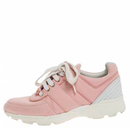 Chanel Pink Canvas And White Leather CC Lace Up Sneakers Size 36 312597