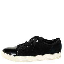 Lanvin Black Suede and Patent DDB1 Low Top Sneakers Size 41 310892
