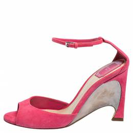 Dior Pink Suede Leather Optique Wedge Ankle Strap Sandals Size 39 309747