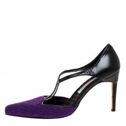 Manolo Blahnik Purple Tweed and Black Leather T-Bar Square Toe Pumps Size 39 312222