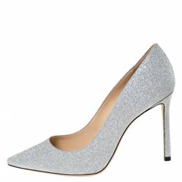 Jimmy Choo Silver Glitter Fabric Romy Pointed Toe Pumps Size 37.5 309329