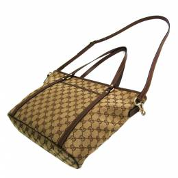Gucci Brown/Beige GG Coated Canvas Medium Front Pocket Convertible Tote Bag 311975