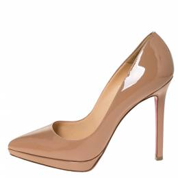 Christian Louboutin Beige Patent Leather Pigalle Plato Pumps Size 37.5 306898