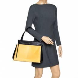 Celine Black/Yellow Calfhair and Leather Medium Edge Bag 306314