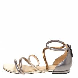 Alexandre Birman Metallic Silver/Gold Gianny Strappy Flat Metallic Leather Sandals 36 307045
