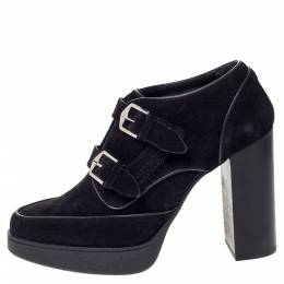 Tod's Black Suede Double Buckle Platform Ankle Boots Size 39 307043