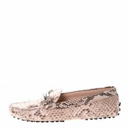 Tod's Two Tone Python Leather Double T Loafers Size 37.5 306537