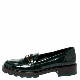 Tod's Green Patent Leather Whip Stitch Detail Platform Penny Loafers Size 39 306703