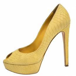 Dior Yellow Python Embossed Miss Dior Pumps Size 38.5 306559