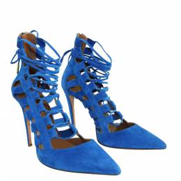 Aquazzura Blue Suede Tie-Up Pumps 302235