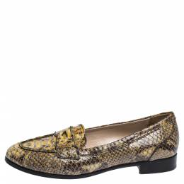 Miu Miu Yellow/Black Snake Embossed Leather Penny Loafers Size 37.5 306349