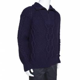 Chanel Indigo Wool Cable Knit Pullover M 306907