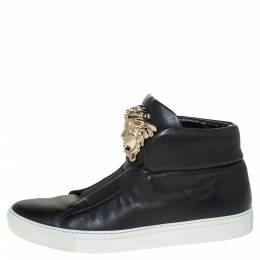 Versace Black Leather Palazzo Medusa High Top Sneakers Size 40 306362