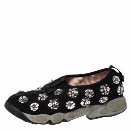 Dior Black Floral Embellished Mesh Fusion Slip On Sneakers Size 38 303330