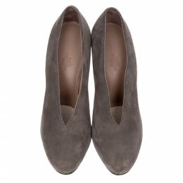 Hermes Grey Suede Closed Toe Pumps Size 40 257675