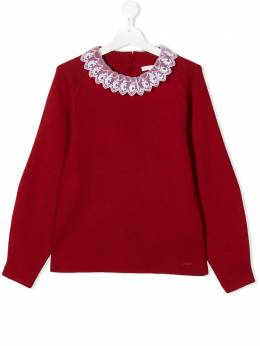 Chloe Kids knit sweater with logo lace detail collar C15B54953