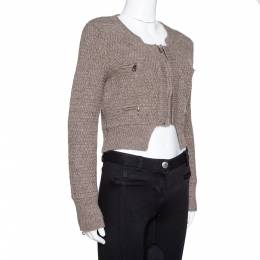Chloe Nuage Wool Knit Cropped Zip Front Jacket XS 321624