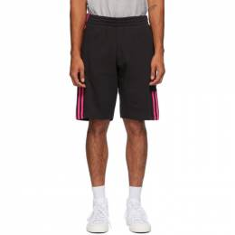 Adidas Originals Black and Pink 3D Trefoil 3-Stripe Sweat Shorts GN4302