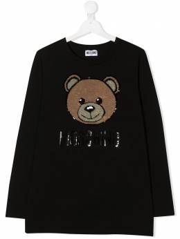 Moschino Kids футболка Teddy Bear с пайетками HAO000LBA12