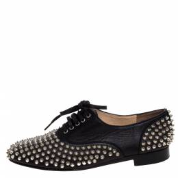 Christian Louboutin Black Leather 'Freddy' Spike Lace Up Oxfords Size 39.5 322914