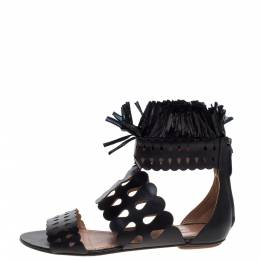 Alaia Black Leather and Straw Cut Out Fringes Flat Sandals Size 39 322927