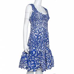 Oscar de la Renta Blue Floral Embroidered Mesh Sleeveless Dress M 322050