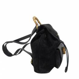 Gucci Black Suede Bamboo Backpack 322000