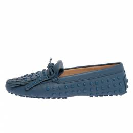 Tod's Blue Leather Studded Fringes Detail Bow Slip On Loafers Size 38 324764
