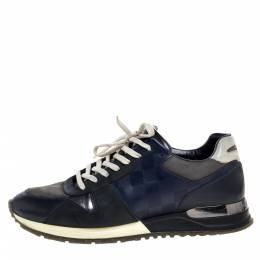 Louis Vuitton Blue/Black Nubuck and Leather Run Away Lace Up Sneakers Size 41 323262