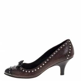 Prada Brown/Black Studded Textured Leather Bow Pumps Size 38.5 325045