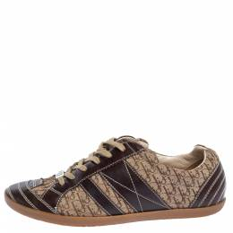Dior Brown Leather and Diorissimo Canvas Low Top Sneakers Size 40.5 325466