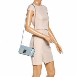 Sonia Rykiel Powder Blue Patent Leather Le Copain Shoulder Bag 324804