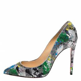 Christian Louboutin Multicolor Sequins and Glitter Fabric Pigalle Follies Pumps Size 41 325193