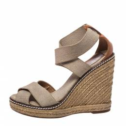 Tory Burch Ivory/Brown Elastic Band Adonis Wedge Espadrille Sandals Size 35 325140